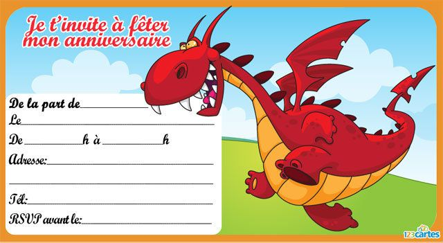 Souvent Invitation anniversaire Dragon rouge - 123 cartes BQ03