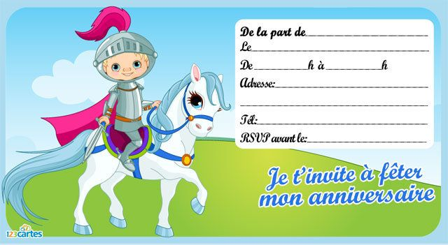 Favorit Invitation anniversaire Le chevalier - 123 cartes XX06