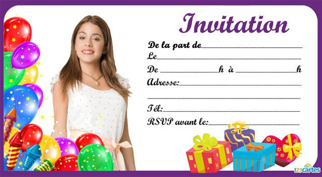 Invitation anniversaire sublime violetta 123cartes - Violetta telecharger ...