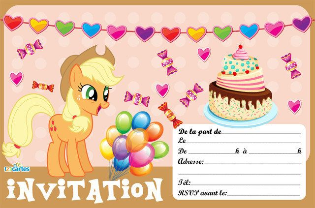 applejack my little pony - invitation anniversaire - 123cartes