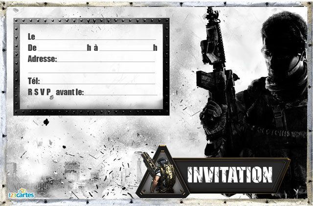 Super Invitation anniversaire Call of duty MW3 - 123 cartes YL66