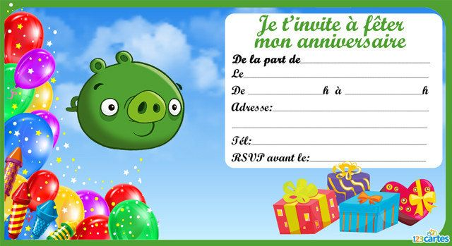 12 Invitations Anniversaire Angry Birds Gratuits 123cartes