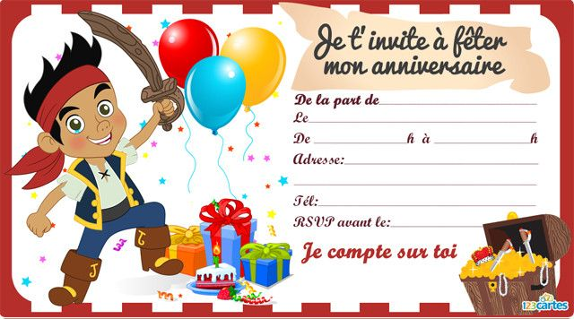 Souvent Invitation anniversaire Jack le pirate - 123 cartes UE94