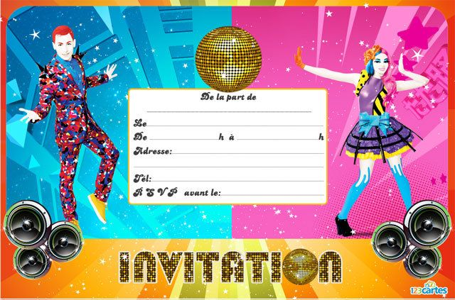 Top Invitation anniversaire Just Dance - 123 cartes GD11