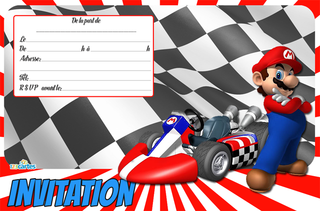 Ideal Invitation anniversaire Mario Kart - 123 cartes MQ74