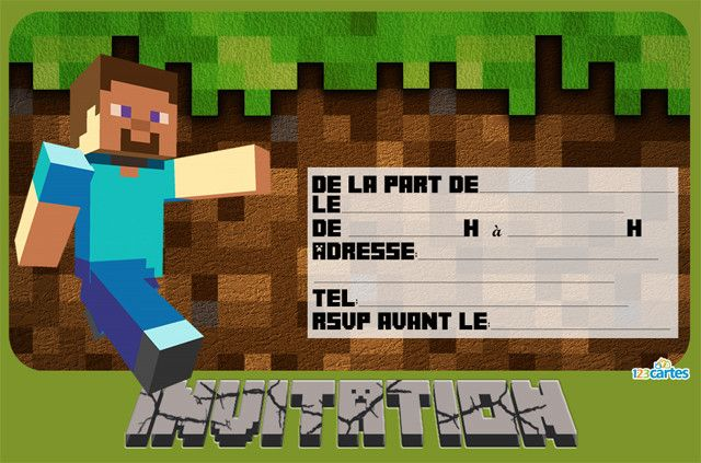 Extrem Invitation anniversaire Minecraft - 123 cartes IJ09