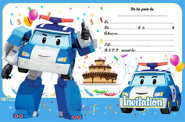 Invitation anniversaire poli 123 cartes - Robot car polly ...