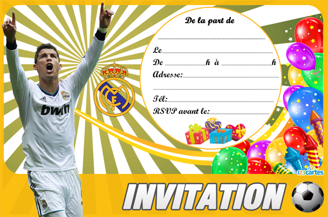 invitation anniversaire football ronaldo 123cartes. Black Bedroom Furniture Sets. Home Design Ideas