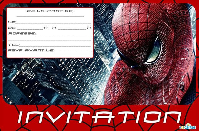 Invitation anniversaire spiderman l homme araign e 123cartes - Photo de spiderman a imprimer gratuit ...