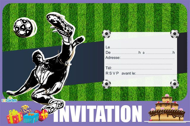 Super Invitation anniversaire Football Stickers - 123 cartes FI52