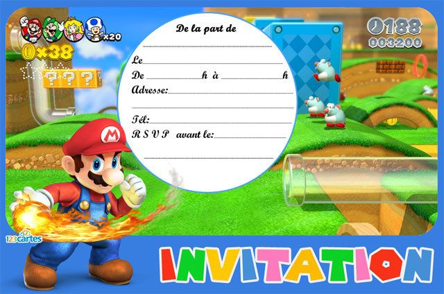 Invitation anniversaire Super Mario