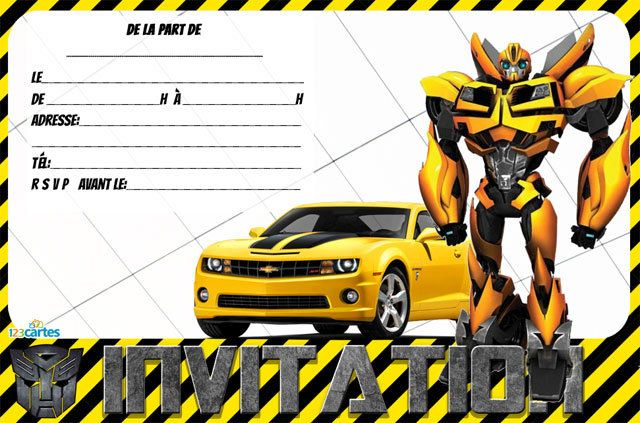 invitation anniversaire transformers