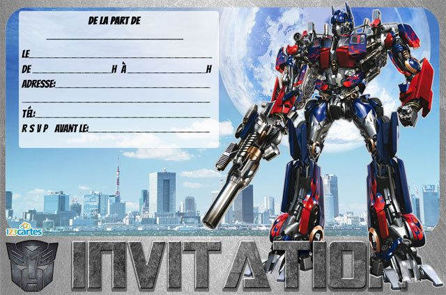 Invitation Anniversaire Transformers Spaxdesign