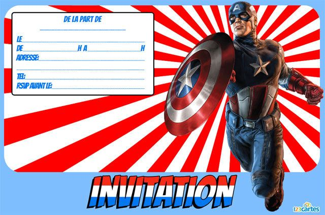 Invitation anniversaire capitaine america 123cartes - Capitaine americain ...