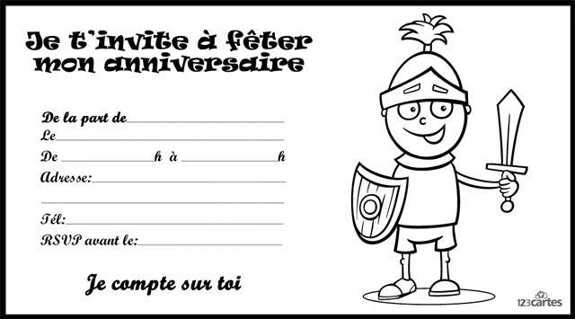 Invitation anniversaire chevalier à colorier