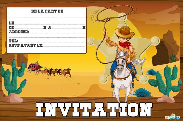cowboys - cartes et invitations gratuites