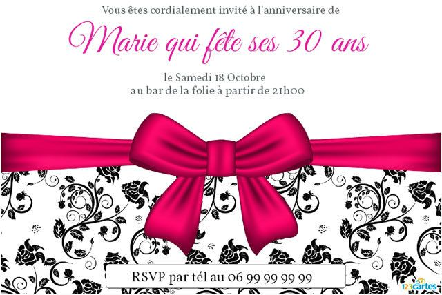 invitation anniversaire 30 ans pour femme 123 cartes. Black Bedroom Furniture Sets. Home Design Ideas