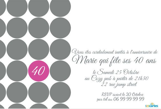 Top Invitation anniversaire femme 40 ans fashion - 123 cartes EY54