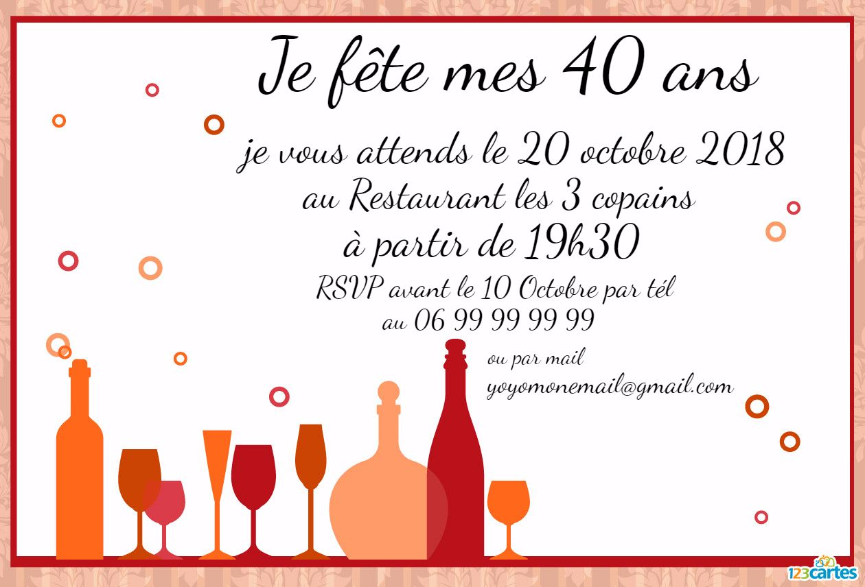 carte d 39 invitation anniversaire 40 ans texte coleteremelly official
