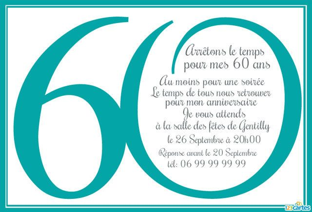 invitation anniversaire 60 ans en chiffres 123 cartes. Black Bedroom Furniture Sets. Home Design Ideas