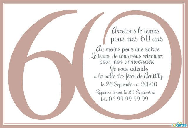 Top 60 ans - Cartes et invitations gratuites - 123 cartes QT74
