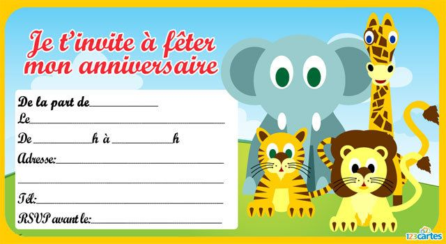 Souvent Invitation anniversaire Animaux de la jungle - 123 cartes BQ03