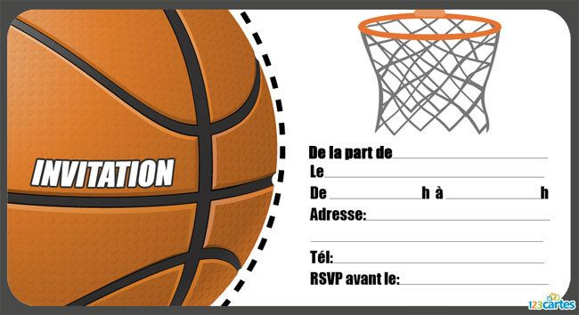 Top Invitation anniversaire Basket - 123 cartes TT78