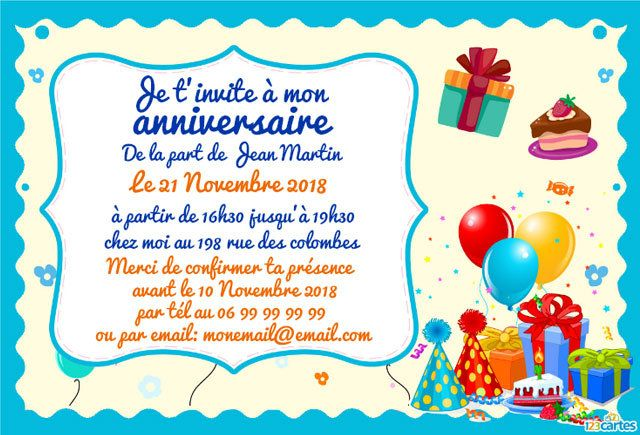 carte d invitation anniversaire enfant carte d 39 invitation d 39 anniversaire pour les enfants. Black Bedroom Furniture Sets. Home Design Ideas
