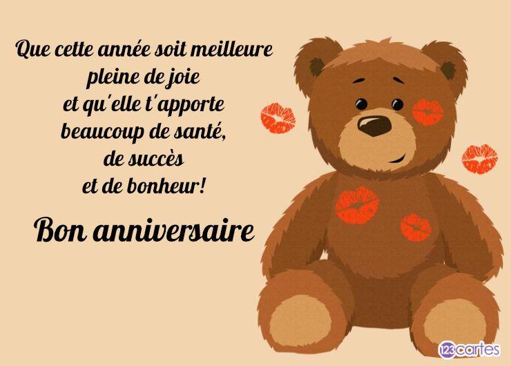 carte joyeux anniversaire peluche d'amour