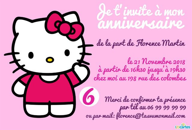 hello kitty en pink invitation anniversaire - Hello Kitty Anniversaire