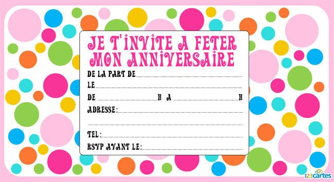 Top Invitation anniversaire Fan de couleurs - 123 cartes VS45