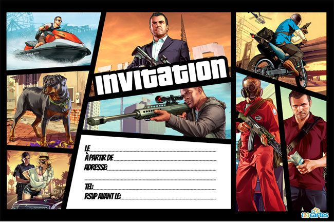 Invitation anniversaire Grand theft auto