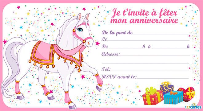 Top Invitation anniversaire Le cheval de la princesse - 123 cartes SQ73