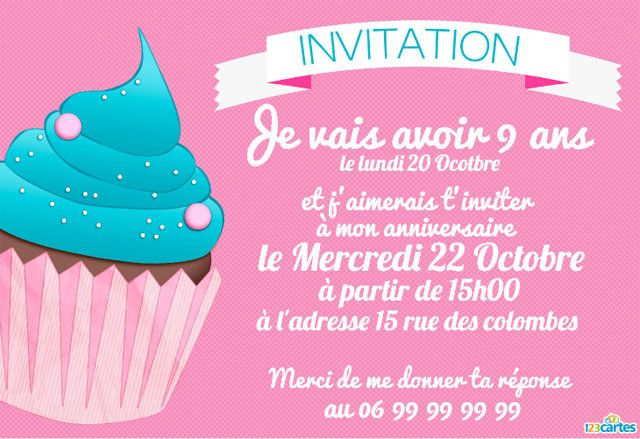message invitation anniversaire enfant xu79 montrealeast. Black Bedroom Furniture Sets. Home Design Ideas