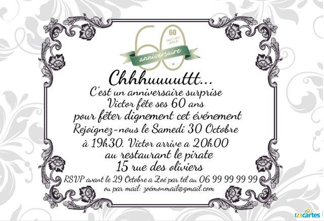invitation anniversaire surprise 60 ans 123cartes. Black Bedroom Furniture Sets. Home Design Ideas