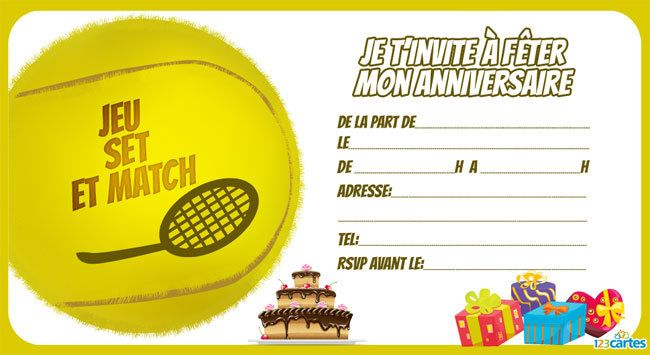 Top Invitation anniversaire Tennis - 123 cartes TT78