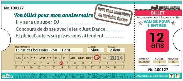 Fabuleux Invitation anniversaire Ticket de train - 123 cartes VJ84