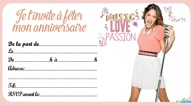 Populaire Invitation anniversaire Violetta passion and love - 123 cartes HX91