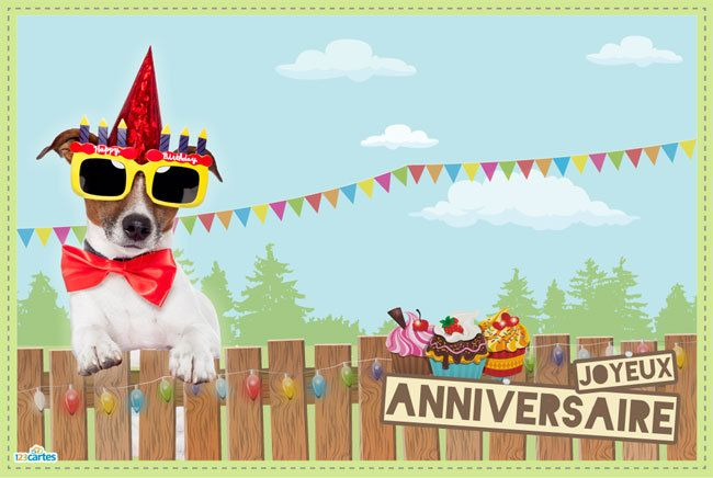 Carte anniversaire happy dog 123cartes - Carte d anniversaire adulte a imprimer ...
