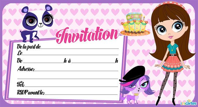 Invitation anniversaire littlest petshop 123 cartes - Store imprime photo ...