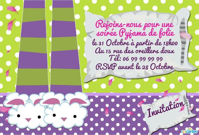 Invitation anniversaire Pyjama party à personnaliser