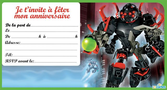 invitation anniversaire hero factory