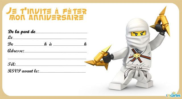 invitation anniversaire lego ninjago 123 cartes. Black Bedroom Furniture Sets. Home Design Ideas