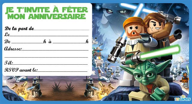 Fabulous Invitation anniversaire Lego star wars - 123 cartes DZ07