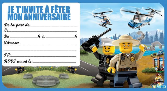 Invitation anniversaire Lego the city 4