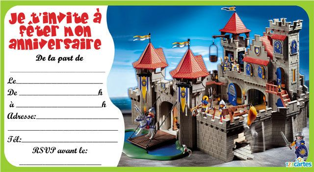 Invitation anniversaire playmobil chevalier 123cartes - Chateau chevalier playmobil ...