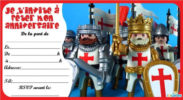 carte invitation anniversaire chevalier