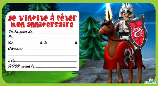 Invitation anniversaire playmobil chevalier 1