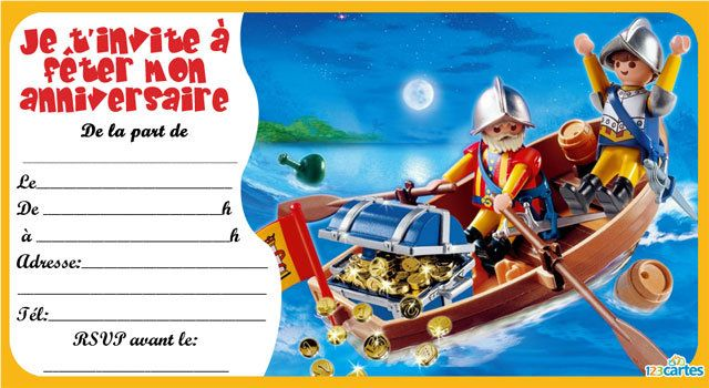 Invitation anniversaire playmobil pirates 123 cartes - Invitation anniversaire garcon pirate ...