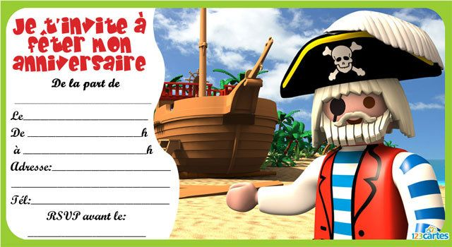 Bien connu Invitation anniversaire Playmobil pirates - 123 cartes MZ78